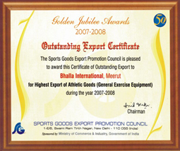 Awarded No. 1 for Highest Exports of Athletic Equipment by SGEPC